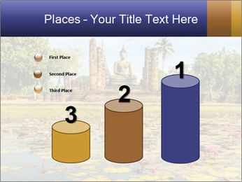 Buddha Statue at Wat Mahathat in Sukhothai Historical Park PowerPoint Templates - Slide 65