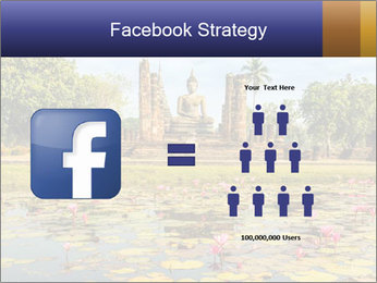 Buddha Statue at Wat Mahathat in Sukhothai Historical Park PowerPoint Templates - Slide 7
