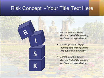 Buddha Statue at Wat Mahathat in Sukhothai Historical Park PowerPoint Templates - Slide 81