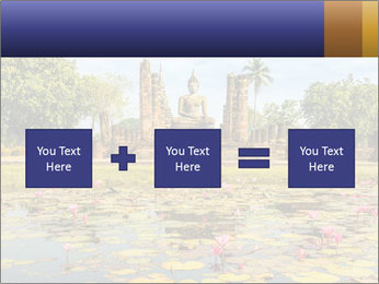 Buddha Statue at Wat Mahathat in Sukhothai Historical Park PowerPoint Templates - Slide 95