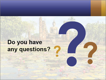 Buddha Statue at Wat Mahathat in Sukhothai Historical Park PowerPoint Template - Slide 96