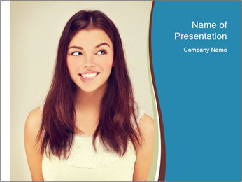 Beauty portrait of a young brunette woman PowerPoint Template