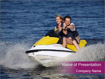 Happy smiling caucasian couple riding jet ski PowerPoint Template
