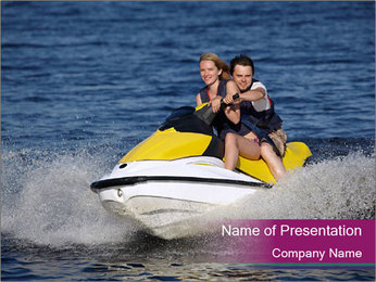 Happy smiling caucasian couple riding jet ski PowerPoint Template - Slide 1