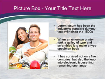 Happy smiling caucasian couple riding jet ski PowerPoint Templates - Slide 13
