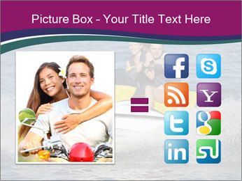 Happy smiling caucasian couple riding jet ski PowerPoint Template - Slide 21
