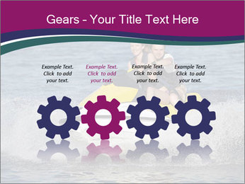 Happy smiling caucasian couple riding jet ski PowerPoint Templates - Slide 48
