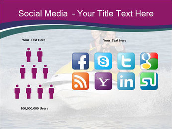 Happy smiling caucasian couple riding jet ski PowerPoint Templates - Slide 5