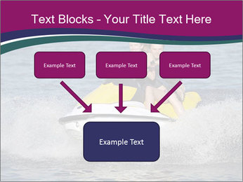 Happy smiling caucasian couple riding jet ski PowerPoint Template - Slide 70