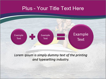 Happy smiling caucasian couple riding jet ski PowerPoint Template - Slide 75