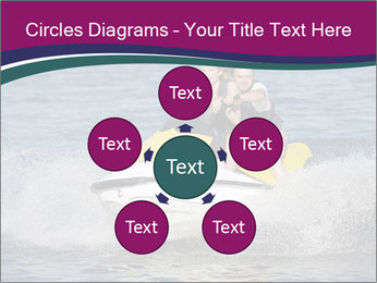 Happy smiling caucasian couple riding jet ski PowerPoint Templates - Slide 78