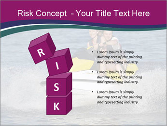 Happy smiling caucasian couple riding jet ski PowerPoint Template - Slide 81