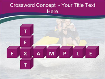 Happy smiling caucasian couple riding jet ski PowerPoint Template - Slide 82