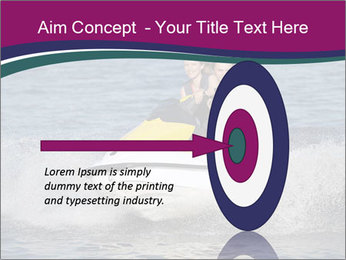 Happy smiling caucasian couple riding jet ski PowerPoint Templates - Slide 83