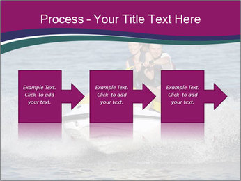 Happy smiling caucasian couple riding jet ski PowerPoint Templates - Slide 88