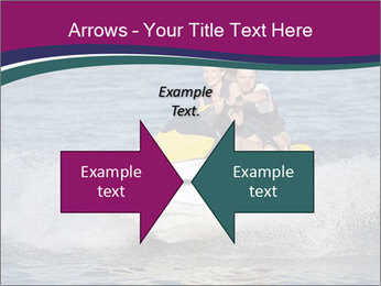 Happy smiling caucasian couple riding jet ski PowerPoint Template - Slide 90