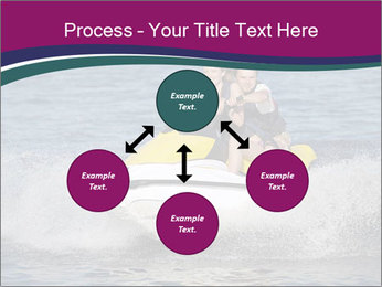 Happy smiling caucasian couple riding jet ski PowerPoint Template - Slide 91