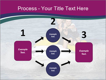 Happy smiling caucasian couple riding jet ski PowerPoint Template - Slide 92