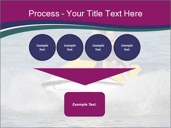 Happy smiling caucasian couple riding jet ski PowerPoint Templates - Slide 93