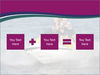Happy smiling caucasian couple riding jet ski PowerPoint Templates - Slide 95