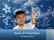 Asian children press the flying PowerPoint Templates