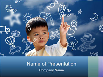 Asian children press the flying PowerPoint Templates - Slide 1