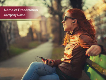 Young woman using a smart phone PowerPoint Template