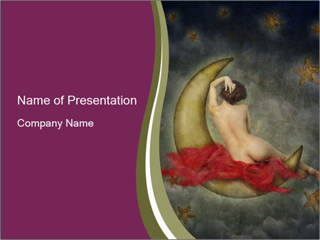 Beautiful naked woman sitting on the paper moon PowerPoint Templates