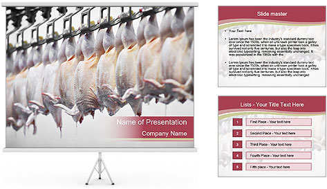 Food industry detail with poultry meat processing PowerPoint Template