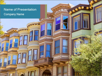 San Francisco Victorian houses PowerPoint Templates - Slide 1