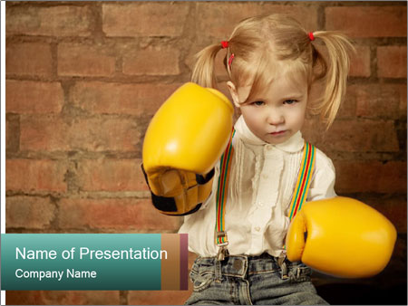 Little girl with yellow boxing gloves over brick PowerPoint Templates
