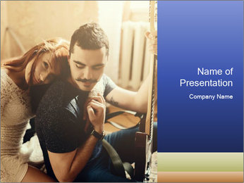 Man and woman at home PowerPoint Template - Slide 1