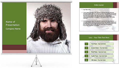Portrait of a bearded wearing hat lumberjack PowerPoint Template