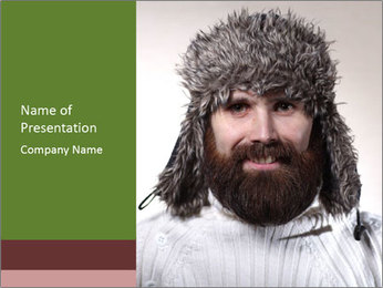 Portrait of a bearded wearing hat lumberjack PowerPoint Template - Slide 1