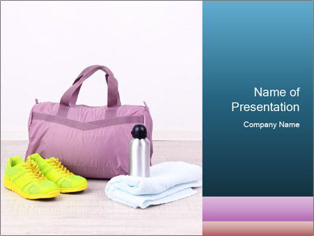 Sports bag with sports PowerPoint Templates