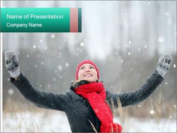 Happy girl winter snow runs PowerPoint Template