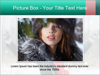 Happy girl winter snow runs PowerPoint Template - Slide 15