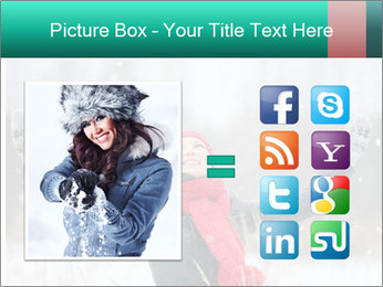 Happy girl winter snow runs PowerPoint Template - Slide 21