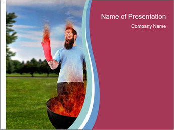 A man grilling with a fire that's too big PowerPoint Template - Slide 1
