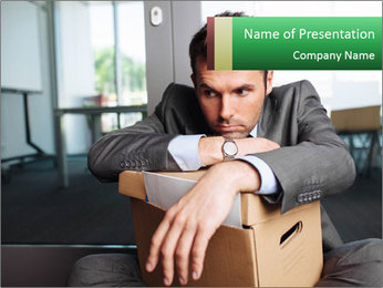 Young laid off manager sitting down with a carton PowerPoint Templates - Slide 1