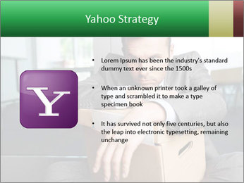 Young laid off manager sitting down with a carton PowerPoint Templates - Slide 11