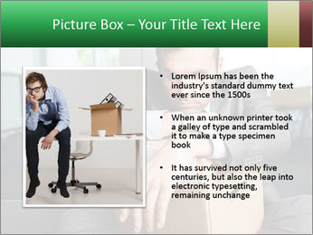 Young laid off manager sitting down with a carton PowerPoint Template - Slide 13