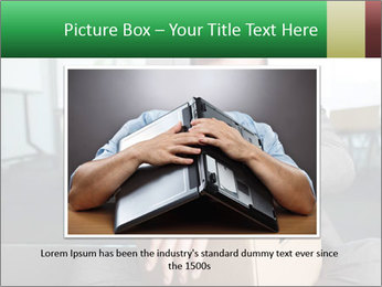 Young laid off manager sitting down with a carton PowerPoint Templates - Slide 15