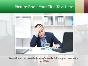 Young laid off manager sitting down with a carton PowerPoint Template - Slide 16