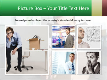 Young laid off manager sitting down with a carton PowerPoint Template - Slide 19