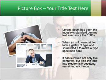 Young laid off manager sitting down with a carton PowerPoint Template - Slide 20