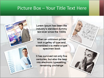 Young laid off manager sitting down with a carton PowerPoint Template - Slide 24