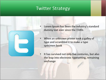 Young laid off manager sitting down with a carton PowerPoint Templates - Slide 9