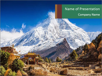 Himalayas mountain landscape PowerPoint Templates - Slide 1