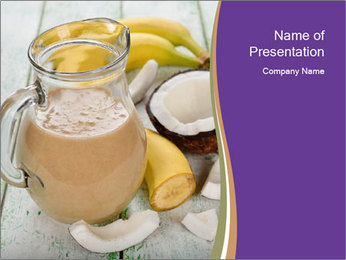 Smoothies with coconut milk and banana PowerPoint Templates - Slide 1
